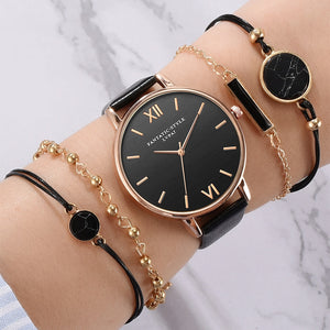 5pcs Set Top Style Fashion Women's Luxury Leather Band Analog Quartz WristWatch Ladies Watch Women