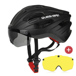 QUESHARK Windproof Bicycle Helmet Safety Riding Caps Breathable Mountain Road MTB Bike Helmets