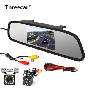 "4.3"" Car Rearview Mirror Monitor Rear View Camera TFT-CCD Video Auto Parking Kit 4 LED Night"
