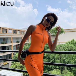 women fitness Playsuits sleeveless turtleneck zipper fly letter print patchwork bodysuit sporting