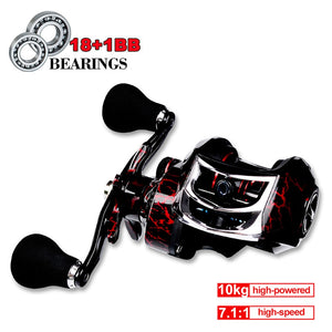 Fishing Baitcasting Reel Spinning 18+1BB 10kg/22LB Drag Super Strong Magnetic Force