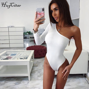 Hugcitar cotton one shoulder slope neckline bodysuit single long sleeve bodyocn bodysuit summer