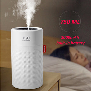 750ml Large Capacity Air Humidifier 2000mAh USB Rechargeable Wireless Ultrasonic Aroma Water Mist