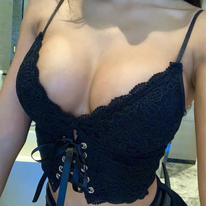 Sexy Lace Strap Backless Short Women Crop Top Nightclub Solid Black Lace Up Summer Beach Boho