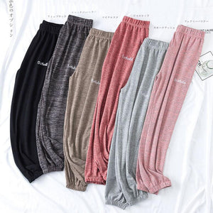 Soft Comfort Women Casual Loose Ankle-Length Sleep Pants Lounge at Home Pants Women Mid Waist
