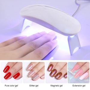 6W White Nail Dryer Machine UV LED Lamp Portable Micro USB Cable Home Use Nail UV Gel Varnish