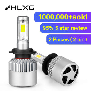 hlxg H4 LED H7 H11 H8 HB4 H1 H3 9005 HB3 Auto S2 Car Headlight Bulbs 72W 8000LM Car Accessories