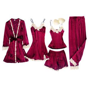 JULY'S SONG 5  Pieces Velvet Pajamas Set Women Sexy Lace Sleepwear Pajamas Suit Winter Warm Sling