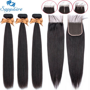 Sapphire Straight Bundles With Closure Brazilian Hair Weave Bundles With Closure Human Hair