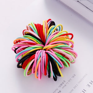 100PCS/Lot Girls Candy Colors Nylon 3CM Rubber Bands Children Safe Elastic Hair Bands Ponytail