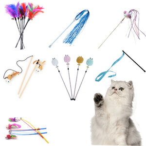 10 Style Cat Toys Plastic Kitten Interactive Stick Funny Cat Fishing Rod Game Wand Feather Stick Toy