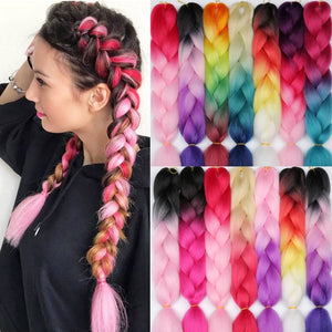 LISI HAIR 24 Inch Braiding Hair Extensions Jumbo Crochet Braids Synthetic Hair style 100g/Pc Pure