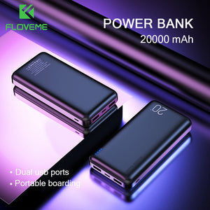 FLOVEME Power Bank 20000mAh Portable Charging Poverbank Mobile Phone External Battery Charger