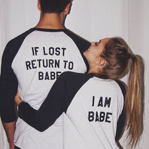 OMSJ New Women Men Long Sleeve Top If Lost Return To Babe/ I Am Babe Couple Clothes T Shirt Casual