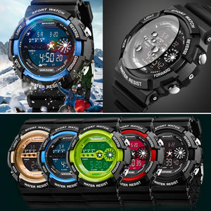 Mens Stainless Steel LED Digital Date Alarm Waterproof Sports Army Quartz Watch Electronic Watch