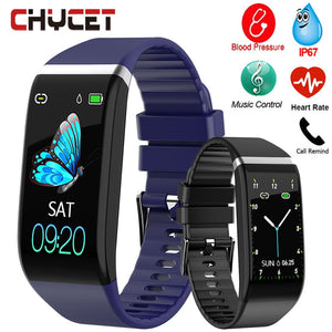 Smart Band Blood Pressure 1.14'' Screen Fitness Tracker Watch Heart Rate Fitness Bracelet Waterproof