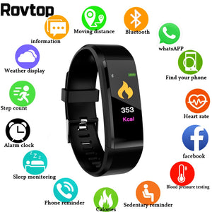 Rovtop New Smart Watch Men Women Heart Rate Monitor Blood Pressure Fitness Tracker Smartwatch