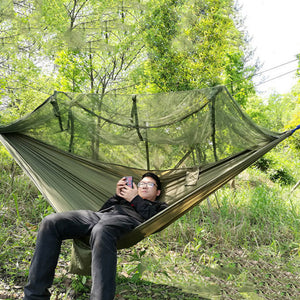 1-2 Person Portable Outdoor Camping Hammock with Mosquito Net High Strength Parachute Fabric Hanging
