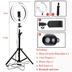 10inch 26cm USB Interface Dimmable LED Selfie Ring Light Camera Phone Photography Video Makeup