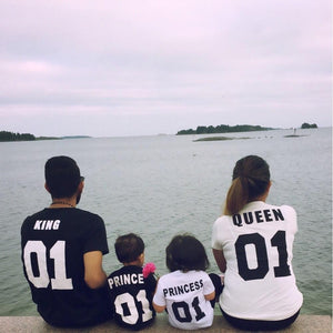 100% Cotton Matching T shirt King 07 Queen 07 Prince Princess Newborn Letter Print Shirts,Couples