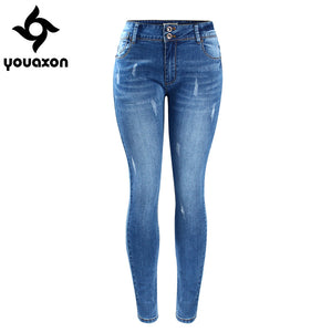Youaxon Women`s Basic Chic Style Fading Stretch Skinny Ture Denim Jeans Woman Pantalon Femme
