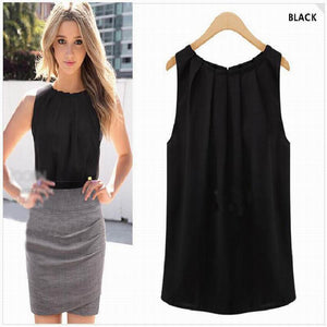 Sexy Chiffon Blouse Solid Women sleeveless Spring summer style Shirt Tops Blouses Casual Clothing