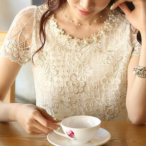 fashion Summer New Offer women's chiffon shirt lace top beading embroidery o-neck Women's Blouses Blouse S-XXXL d338A31