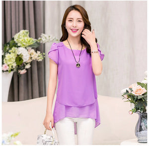 New Summer Women Blouse Loose Shirt O-Neck Chiffon Blouse Female Short Sleeve Blouse Plus Size 5XL Shirts D378