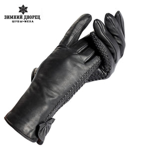 Fashion gloves women,Wrist side butterfly decoration,Genuine Leather,Ladies gloves,Female gloves
