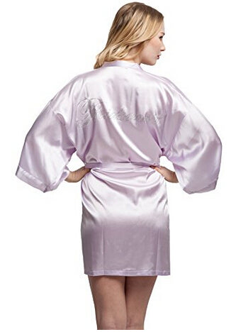 5bff215b28 Fashion Silk Bridesmaid Bride Robe Sexy Women Short Satin Wedding Kimono  Robes Sleepwear Nightgown Dress Woman