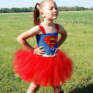 Batman Kids Girls Tutu Dress Superhero Halloween Christmas Birthday Party Costume Wonder Woman Superman Dress TS089