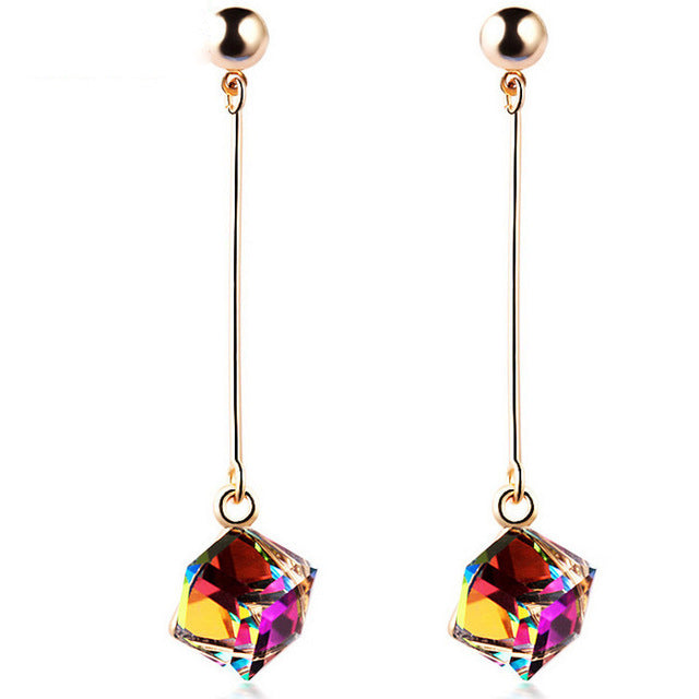 Fashion fine jewelry charm earrings with stones multicolor simple long drop cube crystal red jewelry