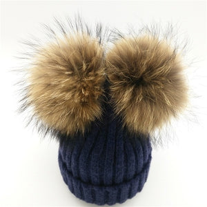 Real Mink Fur Pompom Hat Women Winter Caps Knitted Wool Cotton Hats Two Pom Poms Skullies Beanies