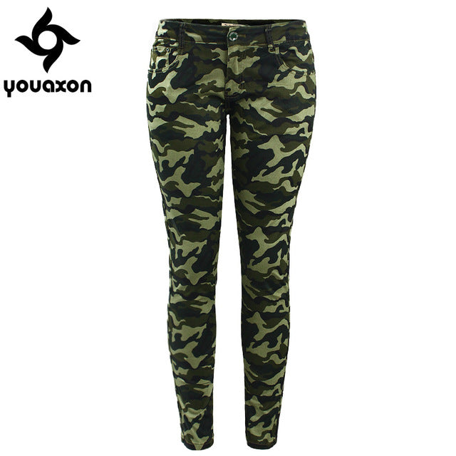 dff2d71140510 ... Femme Camouflage Cropped Pencil Pants. 2019 Youaxon Women`s S-XXXXXL Plus  Size Chic Camo Army Green Skinny Jeans