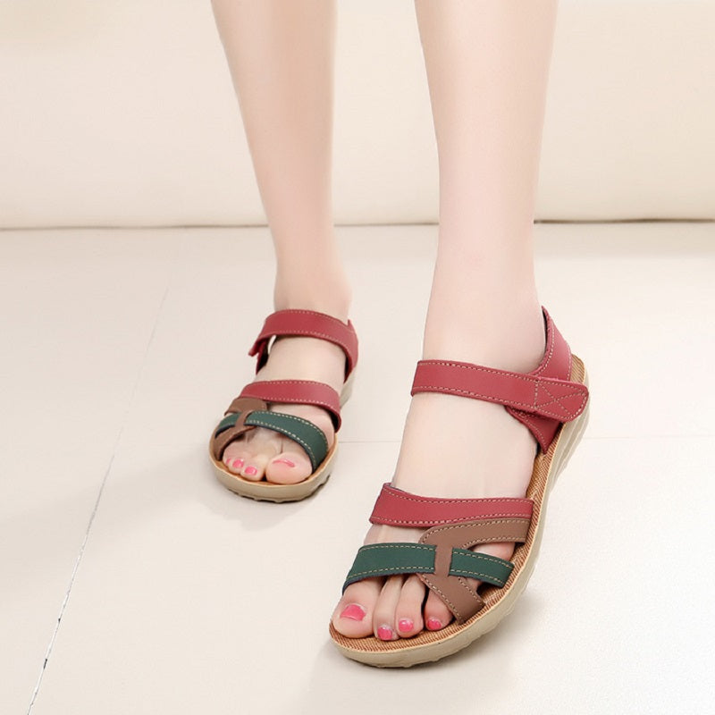 5607e035f3644 ZZPOHE Mother sandals soft leather large size flat sandals summer casual  comfortable non - slip in