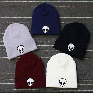Hot Sale Embroidery Alien Hat Winter Men And Women Cuff Hats Soft Solid Beanies Hip Hop Unisex