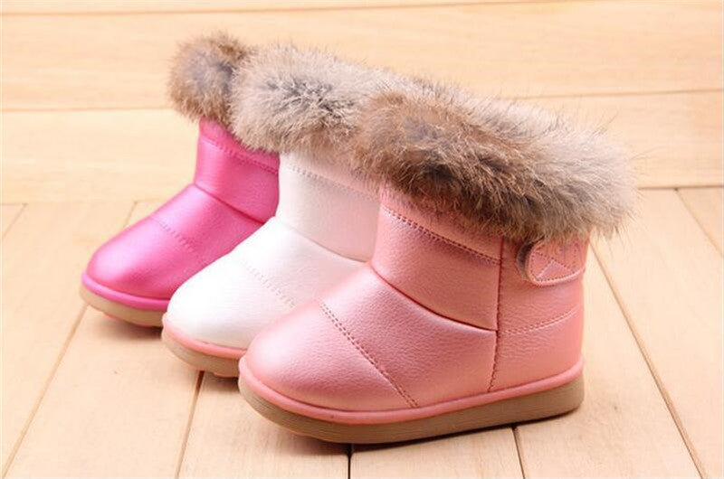 3221cbc455d33 COZULMA Winter Plush Baby Girls Snow Boots Warm Shoes Pu Leather Flat With  Baby Toddler Shoes
