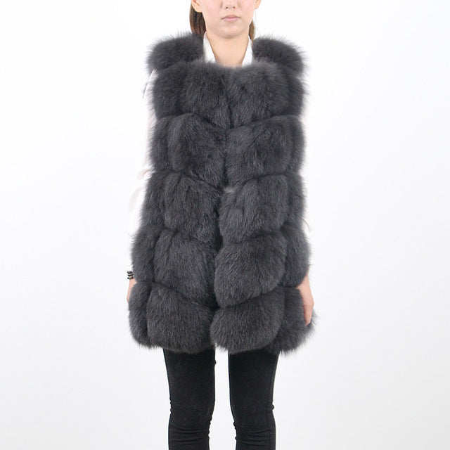 New natural fox fur long vest real fox fur gilet winter high quality women fox