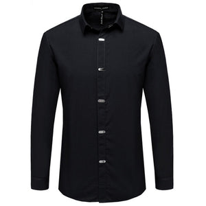 Men's Shirts Autumn New Arrival British Style Casual Long Sleeve Solid Male Business Slim Fit Shirt 4XL N511