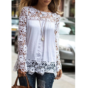 New Fashion Women Ladies Vintage Chiffion Blouses Shirts Long Sleeve Tops Blusas haut dentelle Lace Blouse chemise femme