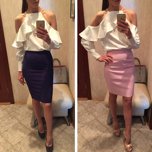new spring summer ruffle blouse shirt halter neck cami cold off shoulder top women chiffon blusa feminina
