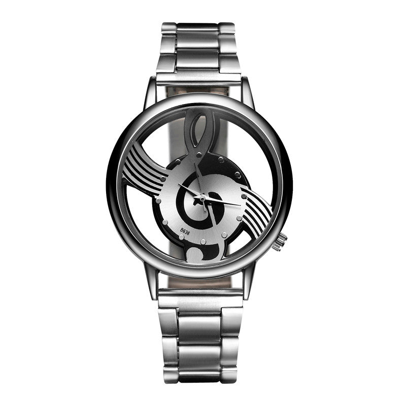 Luxury Brand Fashion and Casual Music Note Notation Watch Stainless Steel Wristwatch for Men and