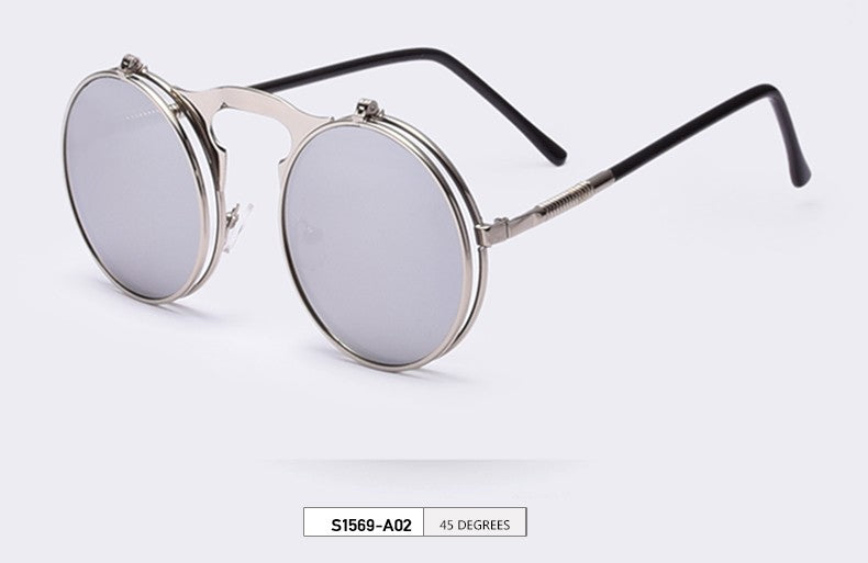 40c6136599 STEAMPUNK Sunglasses round Designer steam punk Metal OCULOS de sol women  COATING SUNGLASSES Men Retro CIRCLE
