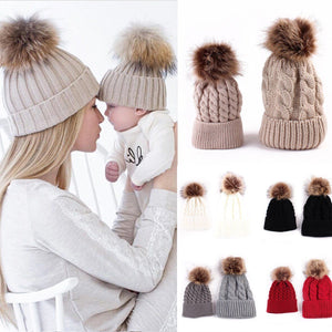 2PCS set Family Hat Infant Winter Knit Crochet Caps Faux Fur Beanie Hat Mother Daughter Son Baby Boy