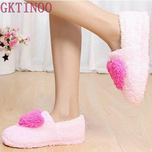 Lovely Ladies Home Floor Soft Women indoor Slippers Outsole Cotton-Padded Shoes Female Cashmere Warm