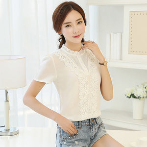 New Arrival Fashion Style Women Blouses Sweet Cute Lady Blouses Plus Size V-neck Short Sleeve Shirt White Shirt 37F 30