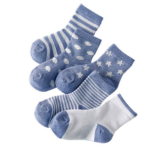 5 Pair=10PCS/lot Baby Socks Neonatal Summer Mesh Cotton Polka dots plain stripes Kids Girls Boys