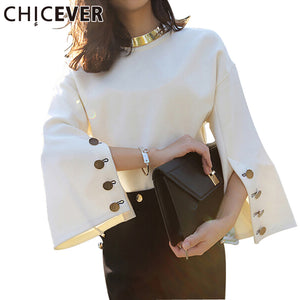 CHICEVER Spring Flare Sleeve Split O-neck Lady Female Tops Women Sweater Clothes New Fashion Korean New