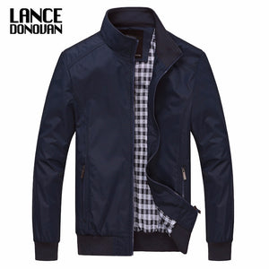 Solid color New Casual Jacket M-5XL 6XL Men Spring Autumn Outerwear Mandarin Collar Clothing