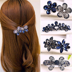 Women Fashion Crystal Rhinestone Flower Hair Pin Ladies Girls Metals Barrette Butterfly Hair Clip